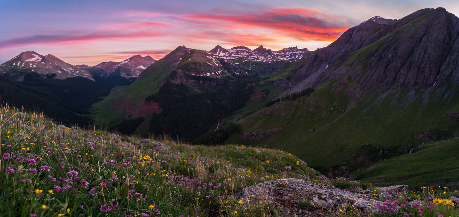 Distant Ice Lake Basin Sunset Pano