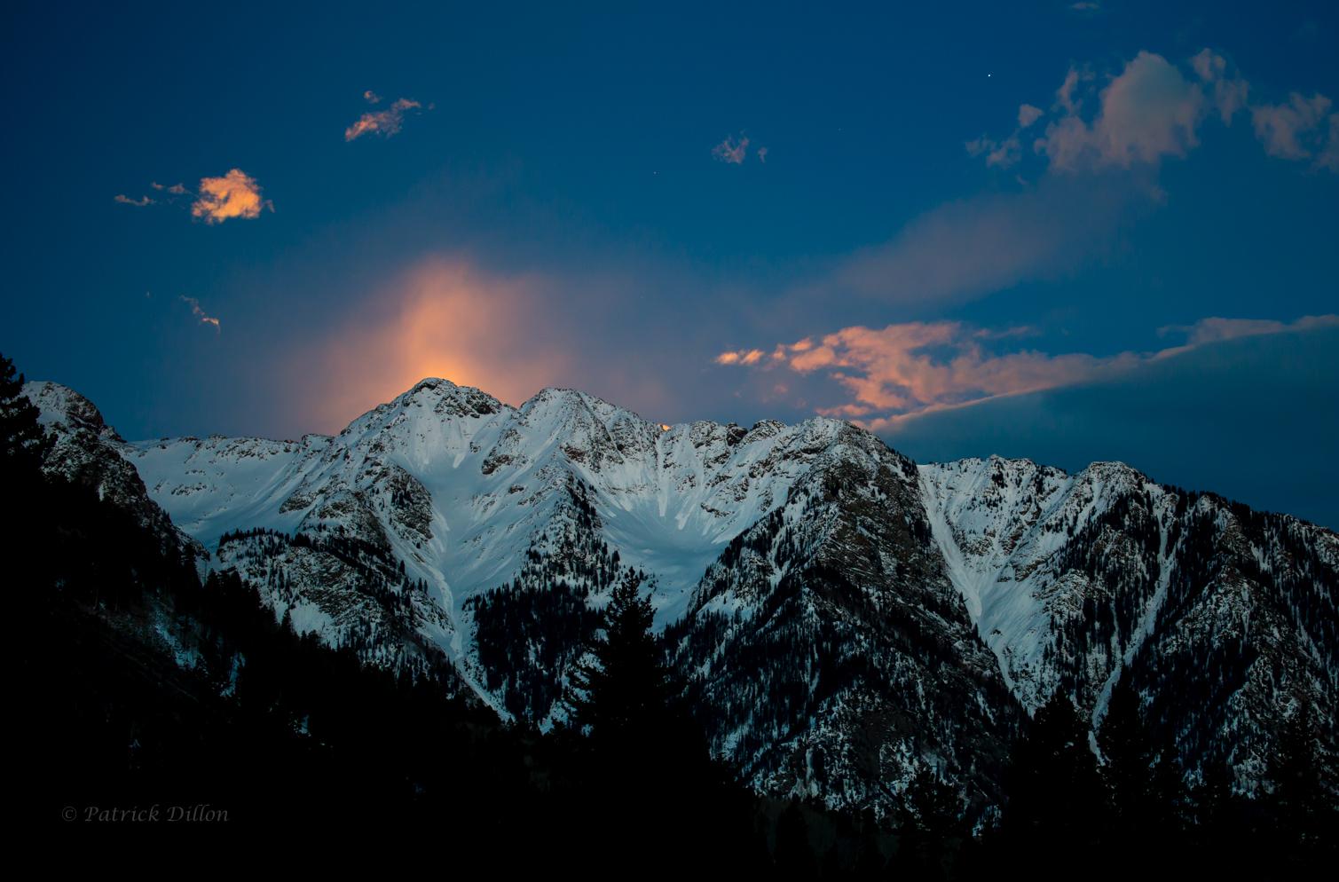 Golden full Moon rise needles san juan mountains colorado