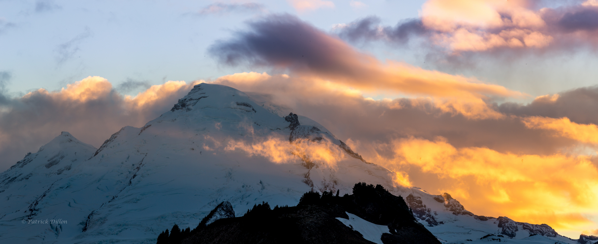 Mt Baker golden sunset