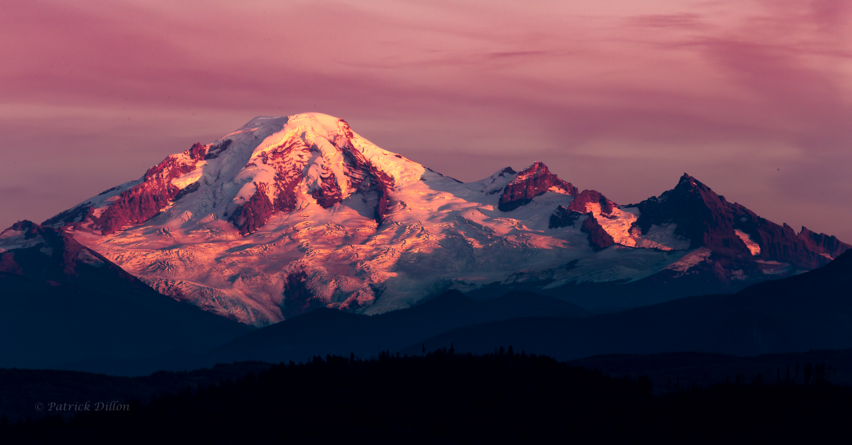 Mt Baker sunset seen from bc canada