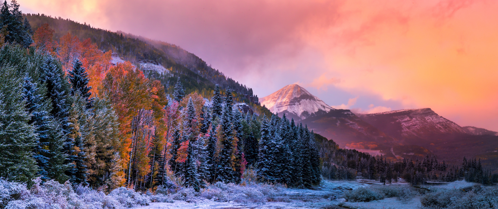 San Juan Mountains Fall color sunset with snow, Engineer Mountains