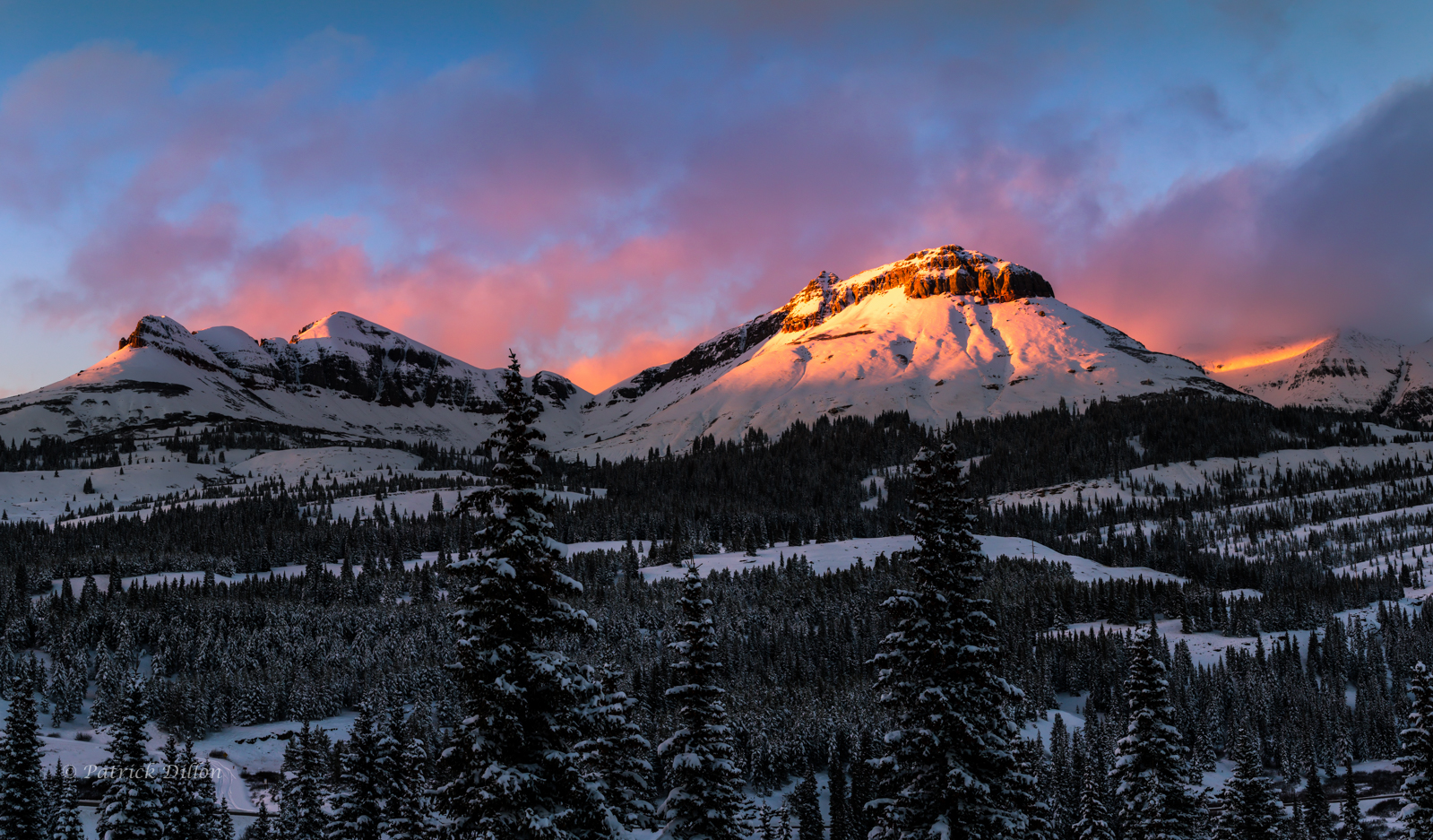 San Juan Mountains first major fall snow 2016 sunset