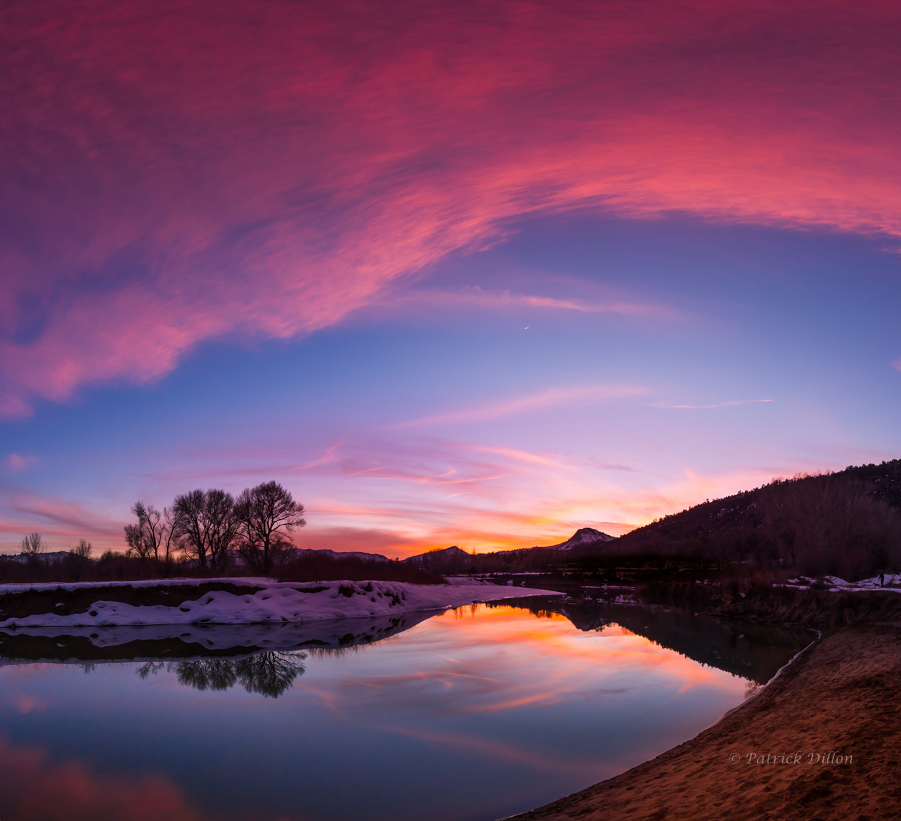 animas river sunset crescent moon reflections