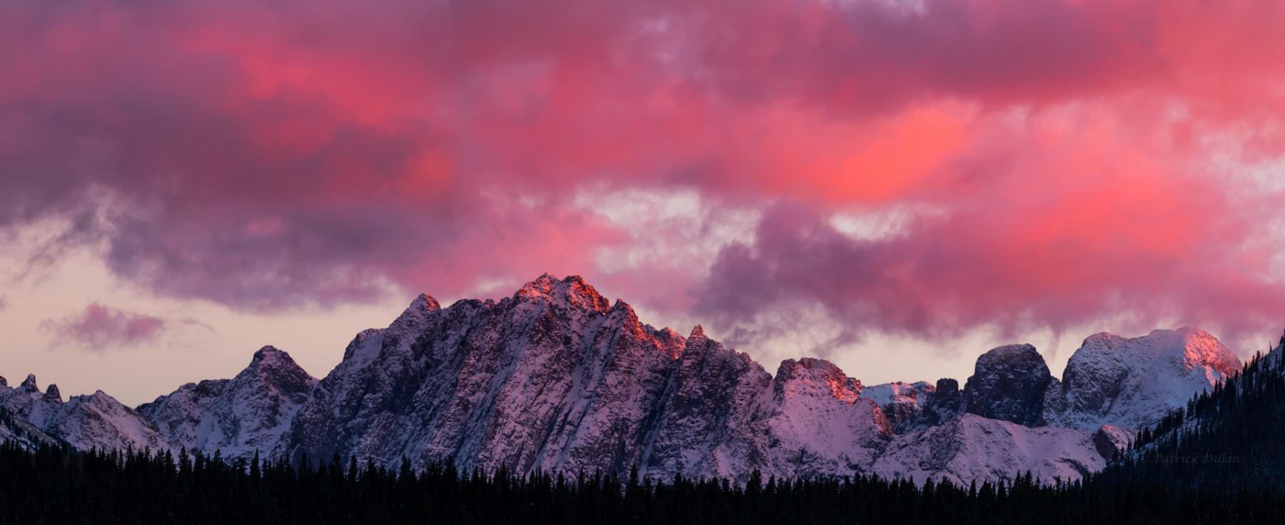 San Juan Mt Grenediers sunset pano